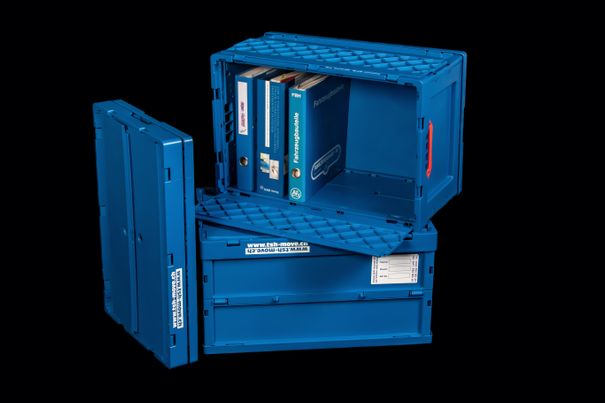 Folding box with lid – moving material – TSH Driver Rent GmbH